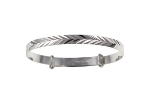 Solid Silver Baby Bangle Herringbone Adjustable Christening Gift 925 Hallmark